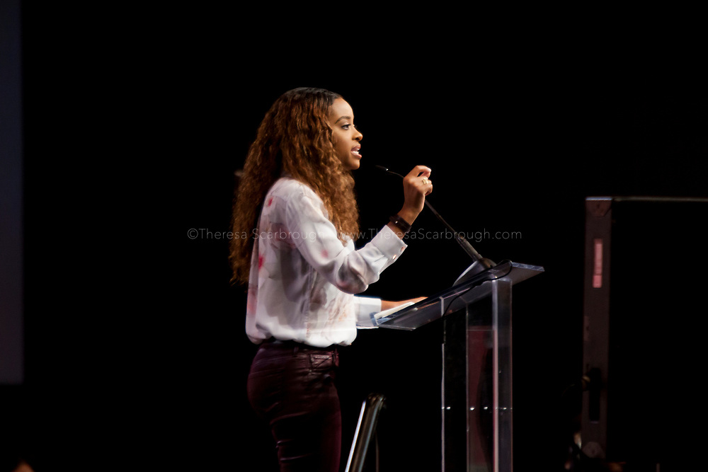 Tamika Mallory, National Co-Chair, Women's March, speaks at the opening session of the Women's Convention at the Cobo Center, Detroit Michigan, Friday, October 27, 2017