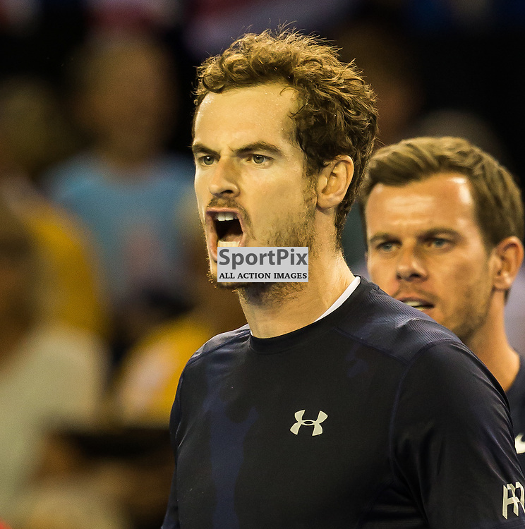Andy Murray celebrates during the Davis Cup Semi-final between Great Britian and Australia (c) ROSS EAGLESHAM | Sportpix.co.uk