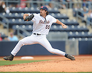 Ole Miss' Evan Anderson (55) pitches vs. Arkansas-Pine Bluff at Oxford-University Stadium in Oxford, Miss. on Wednesday, April 2, 2014.