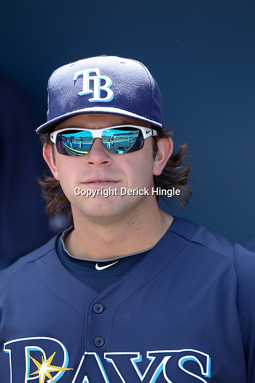 March 15, 2011; Port Charlotte, FL, USA; Tampa Bay Rays third baseman Evan Longoria (3) during a spring training exhibition game against the Florida Marlins at Charlotte Sports Park.   Mandatory Credit: Derick E. Hingle