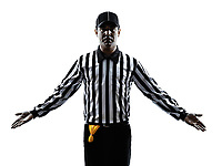 american football referee gestures in silhouette on white background