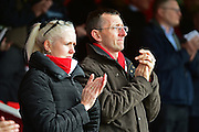 Ebbslfeet fans pay tribute to former Fleet skipper Paul McCarthy during the Vanarama National League South match between Ebbsfleet United and East Thurrock United at the Enclosed Ground, Whitehawk, United Kingdom on 4 March 2017. Photo by Jon Bromley.