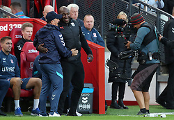 Middlesbrough manager Tony Pulis (left) greets West Bromwich Albion manager Darren Moore prior to kick-off during the Sky Bet Championship match at the Riverside Stadium, Middlesbrough.