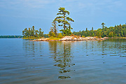 Tree on island reflected in Lake of the Woods<br />Kenora District<br />Ontario<br />Canada
