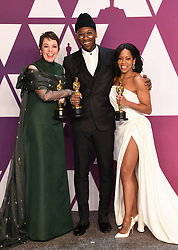 Olivia Colman, winner of Best Actress for 'The Favourite', Regina King, winner of Best Supporting Actress for 'If Beale Street Could Talk' and Mahershala Ali, winner of Best Supporting Actor for 'Green Book' in the press room at the 91st Academy Awards held at the Dolby Theatre in Hollywood, Los Angeles, USA. Photo credit should read: Doug Peters/EMPICS.