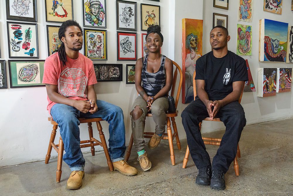 Three kids Eddie Woods was able to save from the streets, Joe Carter, left, his girlfriend Dashia Ware and her brother Darrin Ware, during a Sept. 18, 2016 meeting downtown.  (Photo by Brian Bohannon)