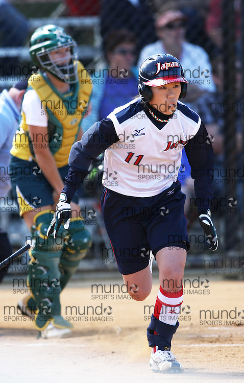 (Canberra, Australia---24 March 2012) Rei Nishiyama of Japan  in the Australia versus Japan women's softball game in the International Softball Challenge at the Hawker International Softball Centre in Canberra, Australia. Australia won the game 6-5 in the final inning. Copyright 2012 Sean Burges / Mundo Sport Images [seanburges@yahoo.com, seanburges@mundosportimages.com, www.mundosportimages.com].