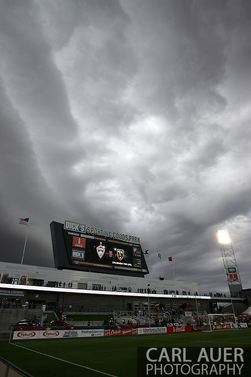 August 3rd, 2013 - Ominous clouds form overhead prior to the start of action in the Major League Soccer match between Real Salt Lake and the Colorado Rapids at Dick's Sporting Goods Park in Commerce City, CO