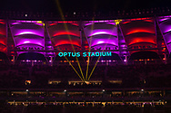 PERTH, AUSTRALIA - JULY 13: Optus stadium lights up during the International soccer match between Manchester United and Perth Glory on July 13, 2019 at Optus Stadium in Perth, Australia. (Photo by Speed Media/Icon Sportswire)
