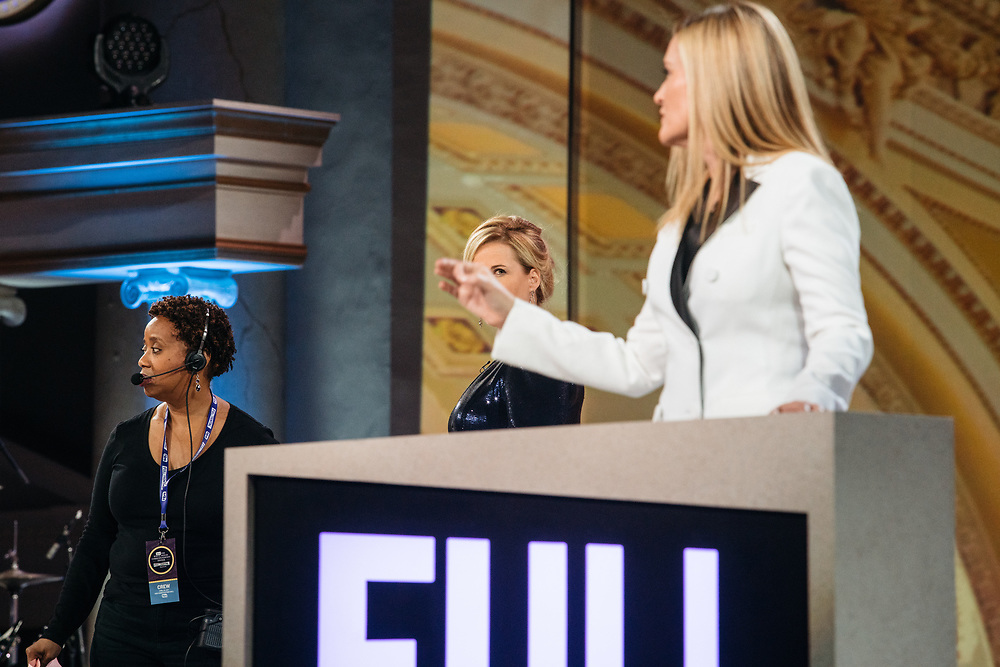 Samantha Bee and Allana Harkin go through rehearsals the day before her Full Frontal with Samantha Bee's Not the White House Correspondents' Dinner at D.A.R. Constitution Hall in Washington D.C. on April 28, 2017.