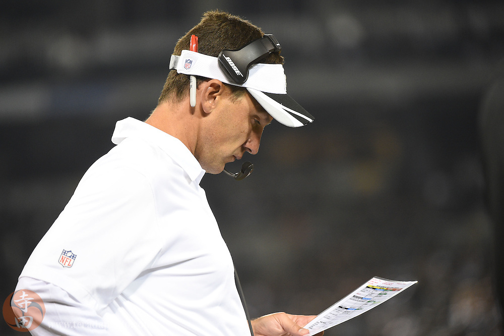 August 15, 2014; Oakland, CA, USA; Oakland Raiders head coach Dennis Allen looks at his play chart against the Detroit Lions during the second quarter at O.co Coliseum.
