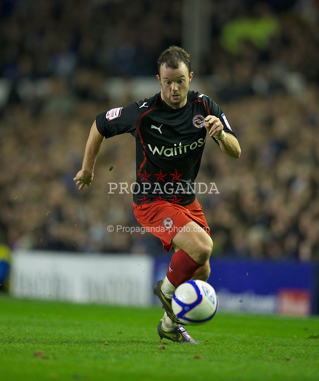 LIVERPOOL, ENGLAND - Tuesday, March 1, 2011: Reading's Noel Hunt in action against Everton during the FA Cup 5th Round match at Goodison Park. (Photo by David Rawcliffe/Propaganda)