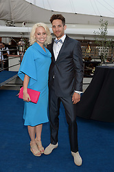 The Johnnie Walker Gold Label Reserve Party aboard John Walker & Sons Voyager, St.Georges Stairs Tier, Butler's Wharf Pier, London, UK on 17th July 2013.<br /> Picture Shows:-Kimberly Wyatt, Max Rogers.
