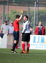East Stirling's Reece Donaldson (3) brings down Edinburgh City's Ross Allum for their penalty and gets a red card from ref Robertson. Edinburgh City became the first club to be promoted to Scottish League Two. East Stirling 0 v 1 Edinburgh City, League play-off game.
