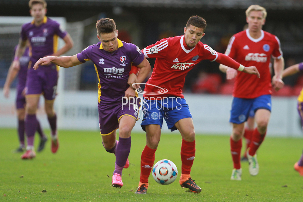 Billy Waters and Chaye Alexander during the Vanarama National League match between Aldershot Town and Cheltenham Town at the EBB Stadium, Aldershot, England on 28 November 2015. Photo by Antony Thompson.