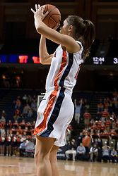 Virginia's Brenna McGuire (10) squares up for her second of two consecutive three point baskets against VT.  The Virginia Tech Hokies overcame a 14 point Virginia lead to beat the Cavaliers 60-58 on their home court at the John Paul Jones Arena in Charlottesville, VA.