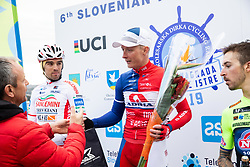 Second placed Paolo Toto of Sangemini Trevigiani Mg.K Vis Team, winner Marko Kump of Adria Mobil and third placed Davide Gabburo of Neri Sottoli Selle Italia KTM celebrate at trophy ceremony after the cycling race 6. VN Slovenske Istre / 6th Slovenian Istra Grand Prix, on February 24, 2019 in Izola/ Isola, Slovenia. Photo by Vid Ponikvar / Sportida