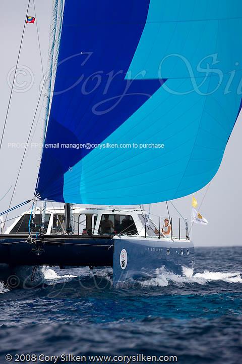 Hammer, a Gunboat 48, sailing Race 1 at Antigua Sailing Week.