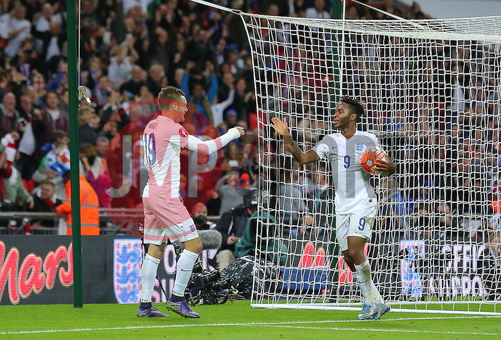 Raheem Sterling ( R ) of England celebrates with Jamie Vardy after he scores to make it 2-0 - Mandatory byline: Paul Terry/JMP - 07966 386802 - 09/10/2015 - FOOTBALL - Wembley Stadium - London, England - England v Estonia - European Championship Qualifying - Group E