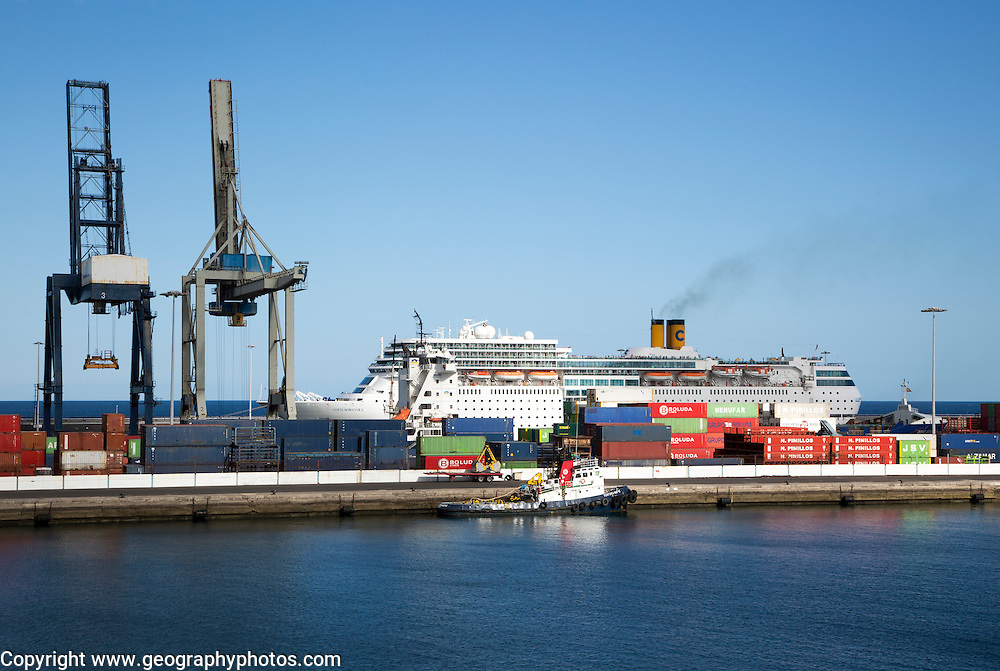 Cruise ship and cranes in port area of Arrecife, Lanzarote, Canary Islands, Spain