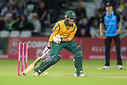 Luke Wood of Nottinghamshire Nottinghamshire Outlaws is hurt by Patrick Brown of Worcestershire Rapids during the Vitality T20 Blast North Group match between Nottinghamshire County Cricket Club and Worcestershire County Cricket Club at Trent Bridge, West Bridgford, United Kingdon on 18 July 2019.