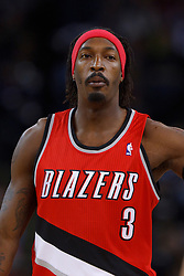 Jan 25, 2012; Oakland, CA, USA; Portland Trail Blazers small forward Gerald Wallace (3) stands on the court before the game against the Golden State Warriors at Oracle Arena. Golden State defeated Portland 101-93. Mandatory Credit: Jason O. Watson-US PRESSWIRE