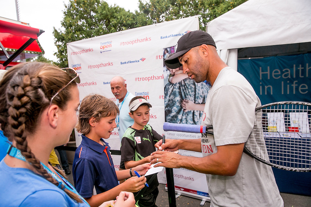 August 25, 2016, New Haven, Connecticut: <br /> James Blake signs autographs after riding the spin Bikes at the Yale New Haven Health booth during the Men's Legends Event on Day 7 of the 2016 Connecticut Open at the Yale University Tennis Center on Thursday, August  25, 2016 in New Haven, Connecticut. <br /> (Photo by Billie Weiss/Connecticut Open)