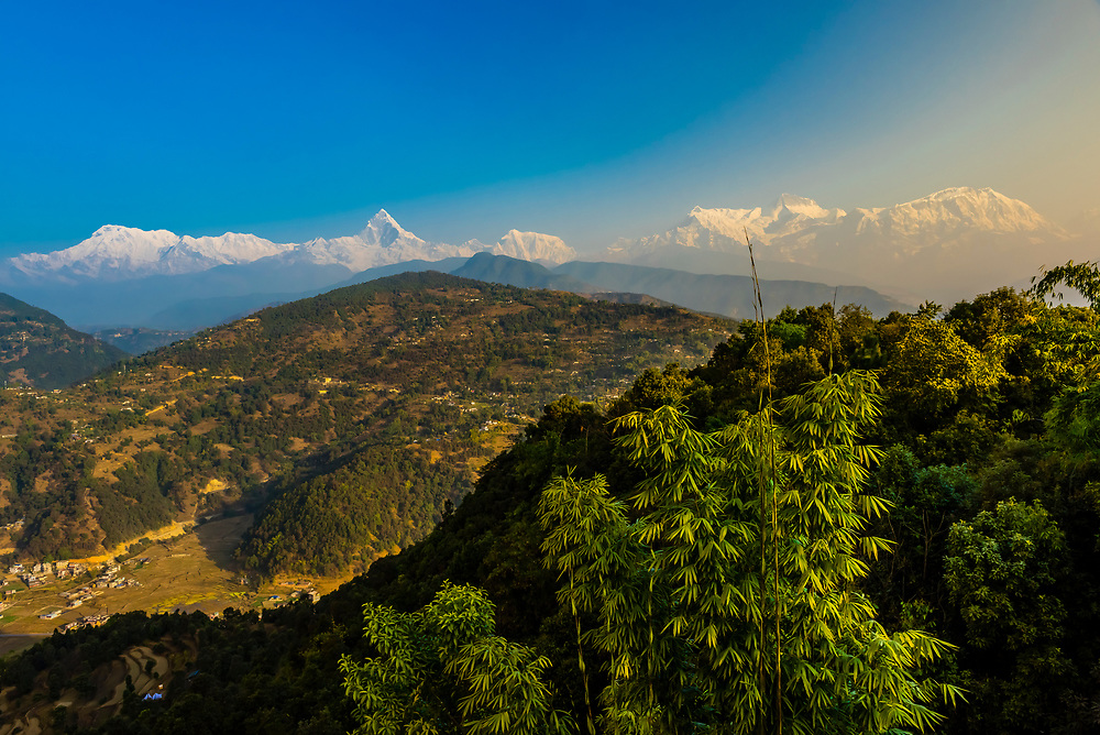 Peaks of the Annapurna Massif of the Himalayas seen from Lekhnath,  near Pokhara, Nepal.