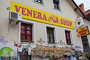 An adult entertainment shop on on Trubarjeva Cesta (street) in the Slovenian capital, Ljubljana, on 28th June 2018, in Ljubljana, Slovenia.