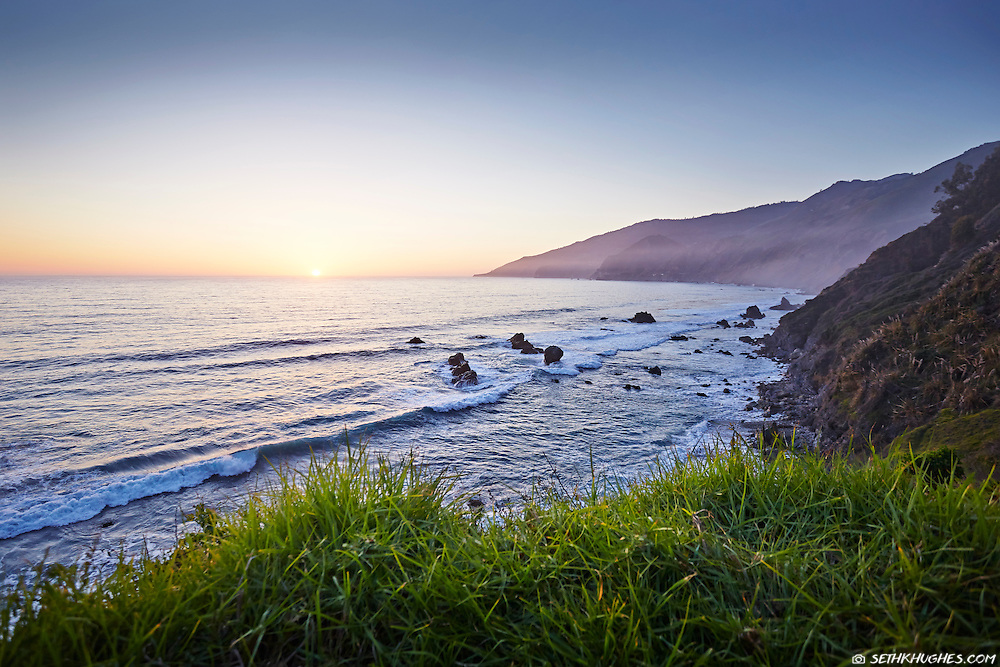 A view of the Pacific Ocean on the Big Sur coast of California.