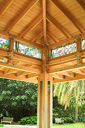 Interior of wood gazebo in Selby Gardens botanical in Sarasota Florida Deck patio Verandah Porch