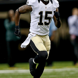 Aug 9, 2013; New Orleans, LA, USA; New Orleans Saints wide receiver Courtney Roby (15) against the Kansas City Chiefs during a preseason game at the Mercedes-Benz Superdome. The Saints defeated the Chiefs 17-13. Mandatory Credit: Derick E. Hingle-USA TODAY Sports