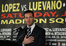 Dec 3, 2009; New York, NY, USA; Todd DuBoef speaks at the press conference announcing the January 23, 2010 fights at Madison Square Garden.