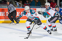 KELOWNA, CANADA - DECEMBER 30: Nick Merkley #10 of the Kelowna Rockets skates with the puck against the Victoria Royals on December 30, 2016 at Prospera Place in Kelowna, British Columbia, Canada.  (Photo by Marissa Baecker/Shoot the Breeze)  *** Local Caption ***