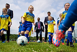 CARDIFF, WALES - Thursday, June 1, 2017: Vaughan Gethin (Welsh Cabinet Secretary for Health, Well-being and Sport) [L] and Welsh Football Trust Chief Executive Neil Ward [R] with players during the FAW National Women's & Girls Football Festival in at the Cardiff University Sports Fields in Llanrumney. (Pic by David Rawcliffe/Propaganda)