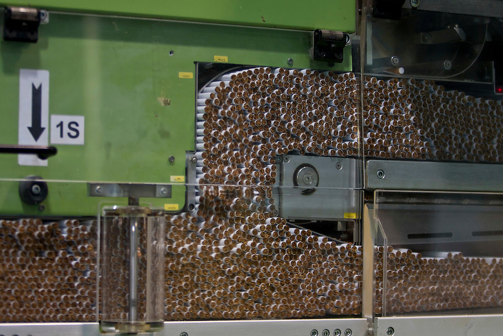 The newer machines at the Phillip Morris Cigarette Factory in Nis, Serbia can produce 10,000 cigarettes per minute per machine. The plant runs 24 hours/day, five days a week, producing 10 billion cigarettes per year.