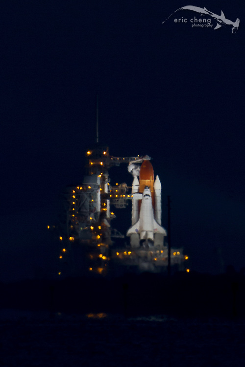 STS-134, the second to last space shuttle mission. Space Shuttle Endeavour sits on the launch pad at Kennedy Space Center, Cape Canaveral, Florida, on May 16, 2011.
