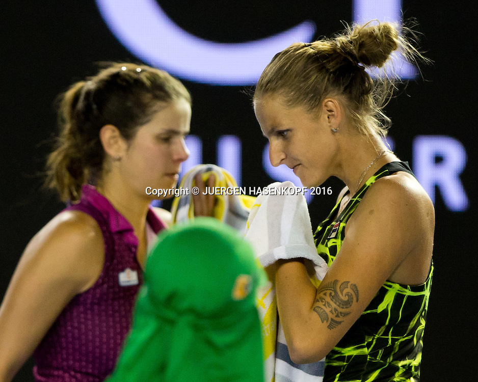 Karolina Pliskova, Julia,Goerges,Australian Open 2016<br /> <br /> Tennis - Australian Open 2016 - Grand Slam ITF / ATP / WTA -  Melbourne Park - Melbourne - Victoria - Australia  - 21 January 2016.