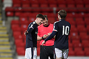 Cedwyn Scott of Dundee is congratulated after scoring by Craig Wighton - St Johnstone v Dundee in the SPFL development league at McDiarmid Park, Perth<br /> <br />  - &copy; David Young - www.davidyoungphoto.co.uk - email: davidyoungphoto@gmail.com