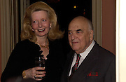 Lord and Lady Weidenfeld, Catherine de Medici by Leonie Frieda book party, English Speaking Union. 3 February 2004. © Copyright Photograph by Dafydd Jones 66 Stockwell Park Rd. London SW9 0DA Tel 020 7733 0108 www.dafjones.com