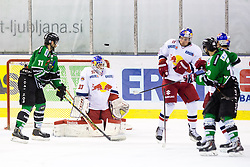 12.10.2014, Hala Tivoli, Ljubljana, SLO, EBEL, HDD Telemach Olimpija Ljubljana vs EC Red Bull Salzburg, 10. Runde, in picture Puck goes wide Luka Gracnar (EC Red Bull Salzburg, #33) during the Erste Bank Icehockey League 10. Round between HDD Telemach Olimpija Ljubljana and EC Red Bull Salzburg at the Hala Tivoli, Ljubljana, Slovenia on 2014/10/12. Photo by Matic Klansek Velej / Sportida