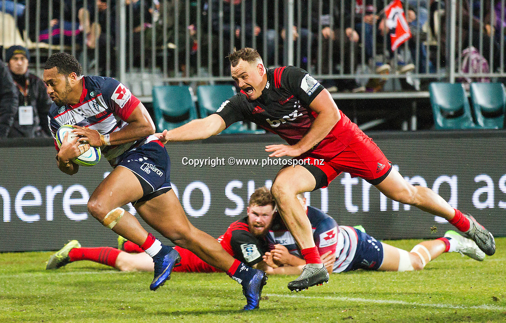 Sefa Naivalu of the Rebels running in a try during the Investec Super Rugby game, BNZ Crusaders v Rebels at AMI Stadium, Christchurch. 09 June 2016 Photo: Joseph Johnson / www.photosport.nz