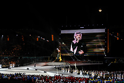 March 21, 2019 - Abu Dhabi, United Arab Emirates - A singer Rashed Al Majed performs during Closing Ceremony of Special Olympics World Games in Zayed Sports City in Abu Dhabi, United Arab Emirates on March 21, 2019.  Special Olympics is a worldwide organization which organize sports competitions for people with learning difficulties. Summer World Games take place every 4 years. 7500 athletes from nearly 200 countries compete in 24 Olympic Sport disciplines in Abu Dhabi Games in 2019. (Credit Image: © Dominika Zarzycka/NurPhoto via ZUMA Press)