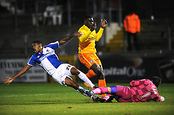 Cristian Montano of Bristol Rovers jostles for the ball with Aaron Pierre of Wycombe Wanderers and Matt Ingram - Mandatory byline: Dougie Allward/JMP - 07966 386802 - 06/10/2015 - FOOTBALL - Memorial Stadium - Bristol, England - Bristol Rovers v Wycombe Wanderers - JPT Trophy
