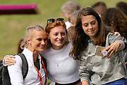 Women's Pault Vaulter Katie Nageotte (USA) poses with fans during the Muller Grand Prix at Alexander Stadium, Birmingham, United Kingdom on 18 August 2018. Picture by Ian Stephen.