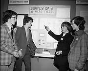 3/1/75.1/3/75.3rd January 1975.The Aer Lingus Young Scientist Exhibition at the RDS, Dublin...Picture shows four students from CBS, Gorey who carried out a survey of a 12 acre field - phyiscal, chemical and biological. L-R are John Kelly, Paul Woulfe, John Gibney and James Lucas. .