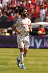 July 28, 2018 - Ann Arbor, MI, U.S. - ANN ARBOR, MI - JULY 28: Liverpool Forward Mohamed Salah (11) in action during in the first half of the ICC soccer match between Manchester United FC and Liverpool FC on July 28, 2018 at Michigan Stadium in Ann Arbor, MI (Photo by Allan Dranberg/Icon Sportswire) (Credit Image: © Allan Dranberg/Icon SMI via ZUMA Press)