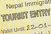 Fragment of the Nepal tourist entry visa.