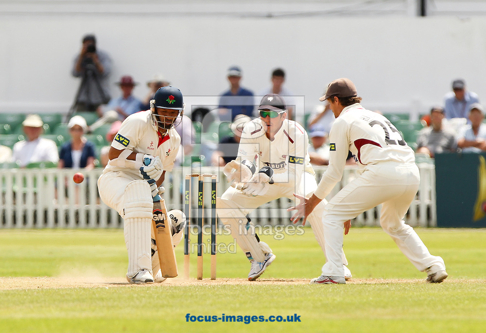 Ashwell Prince (left) of Lancashire County Cricket Club bats during the LV County Championship Div One match at the County Ground, Taunton, Taunton<br /> Picture by Tom Smith/Focus Images Ltd 07545141164<br /> 02/07/2014