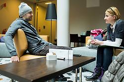 Interview of Rok Flander, Slovenian Snowboarder by journalist Alenka Teran Kosir two days before his fairwell run, on January 26, 2017 in 4Points by Sheraton Ljubljana Mons Hotel, Slovenia. Photo by Vid Ponikvar / Sportida